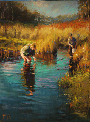 Tapoling in the Dam - Herrick Tasmania - A pastel painting by Leoni Duff