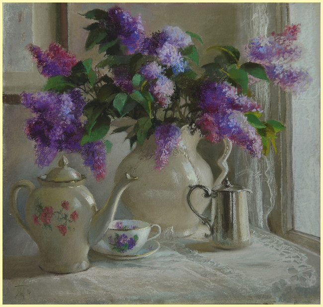 Lilac and Lace - a pastel painting by Leoni Duff